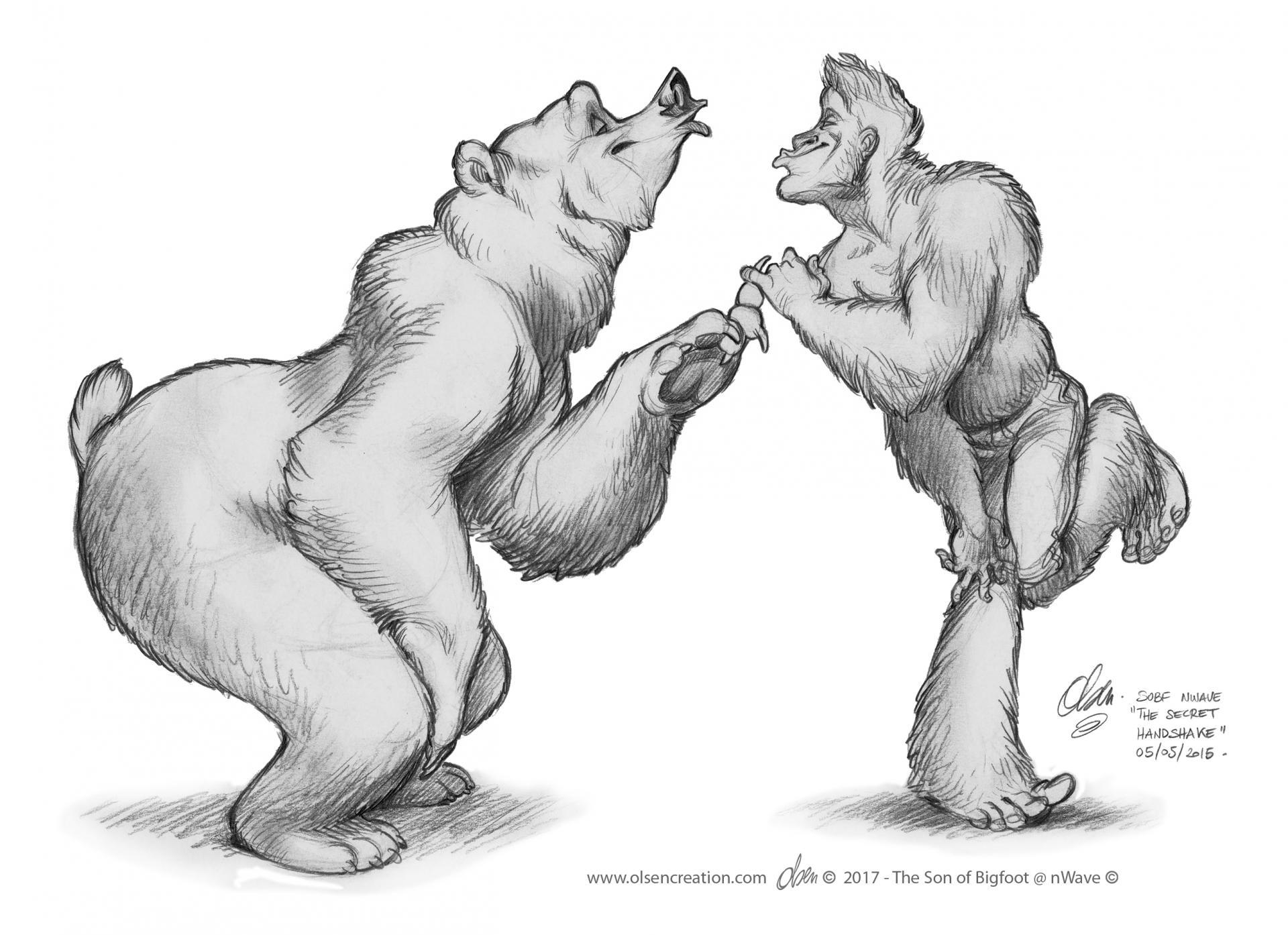 Wilbur and bigfoot the secret paws shake
